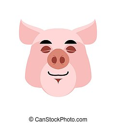 Pig sleeping Emoji. piggy asleepl emotion on white background. Farm animal