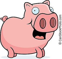 Pig Smiling - A happy cartoon pig standing and smiling.