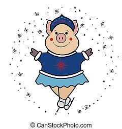 Pig Snow Maiden- dancing on skates symbol 2019