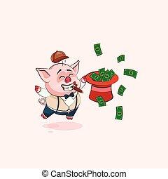 pig sticker emoticon with hat of money
