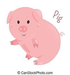 Pig. Sticker for kids. Child fun icon. - Pig. Genus Sus,...