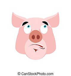 Pig surprised Emoji. piggy astonished emotion on white background. Farm animal