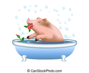 Pig Taking Bath - Happy pig taking bath, bubbles in the air...