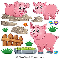 Pig theme collection 1 - eps10 vector illustration.
