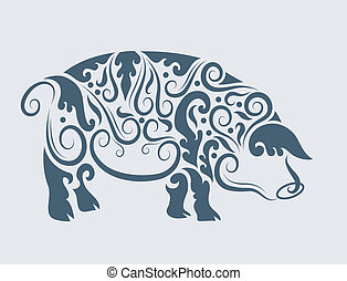 Pig tribal design vector - Pig drawing with floral ornament...