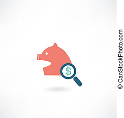 pig under a magnifying glass icon money icon