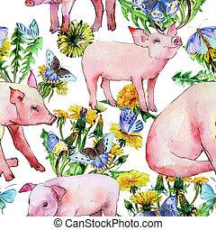 Pig wild animal pattern in a watercolor style.