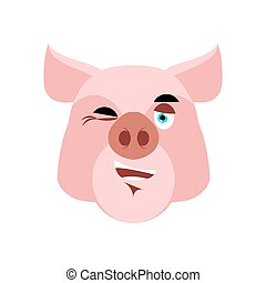Pig winking Emoji. piggy merry emotion on white background. Farm animal