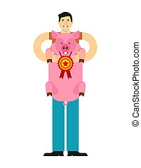 Pig winner. Man holds pig in his arms