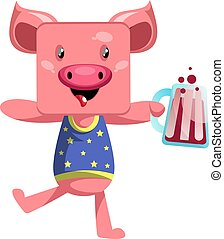 Pig with beer, illustration, vector on white background.