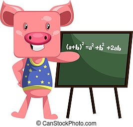 Pig with blackboard, illustration, vector on white background.