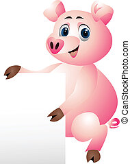 pig with blank sign