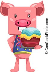 Pig with cake, illustration, vector on white background.