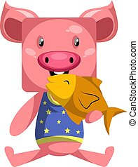 Pig with fish, illustration, vector on white background.
