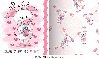 Pig with gift - seamless pattern