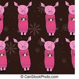 pig with gifts cocoa - pig with cocoa pattern seamless...