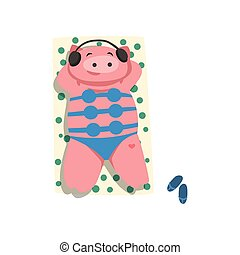 Pig with headphones and bikini sunbathing on the beach, cute bird cartoon character relaxing on the seashore at summer vacation vector Illustration on a white background