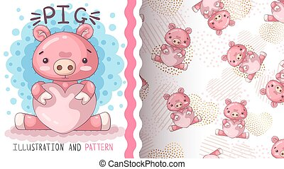 Pig with heart - seamless pattern