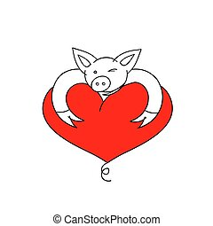 Pig with heart. Vector Illustration. Cartoon funny pig. Pig with heart for Valentine's day card.