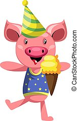 Pig with ice cream,, illustration, vector on white background.