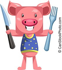 Pig with knife and fork, illustration, vector on white background.
