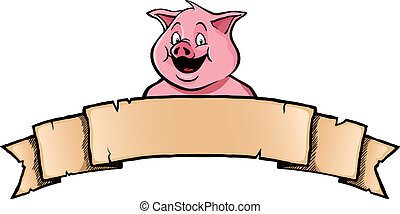 Pig with ribbon banner - Smiling pig with ribbon banner