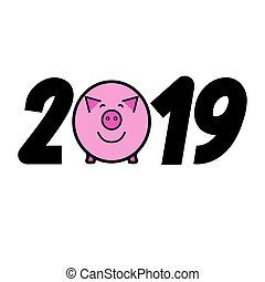 pig., year., jahr, neu , 2019., glücklich
