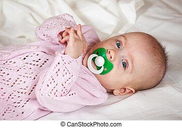 pige, baby, gamle, 5, måneder