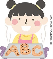 pige, bage, illustration, bread, barnet
