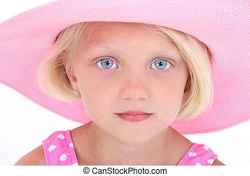 pige, barn, lyserød, hat