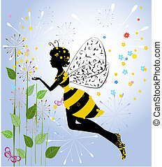 pige, blomst, fairy, bi