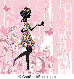 pige, blomster, mønster