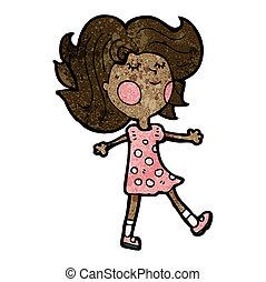 pige, cartoon, kønne