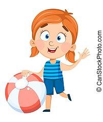 pige, character., cartoon, kønne