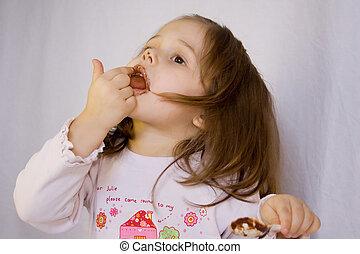 pige, chokolade