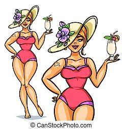 pige, cocktail, oppe, fastgøre, kønne