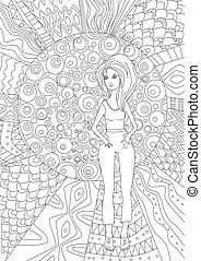 pige, coloring bog, rar