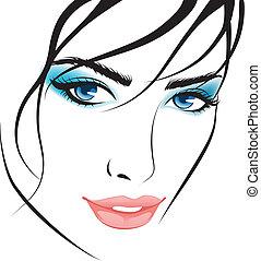 pige, elementer, konstruktion, face., skønhed