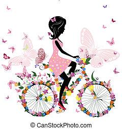 pige en cykel, hos, en, stemningsfuld, sommerfugle