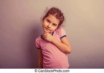 pige, europæisk, baby, tilsynekomst, 6, år