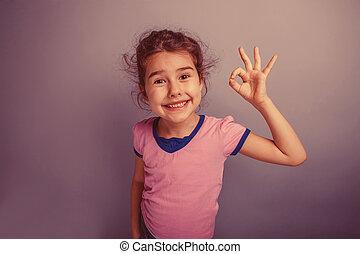pige, europæisk, oppe, tilsynekomst, 6, barn, viser, tommelfingre, år