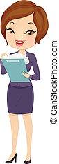 pige, firma, skatter, bogholderi, illustration