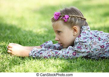 pige, græs, kønne
