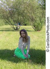 pige, græs, slank