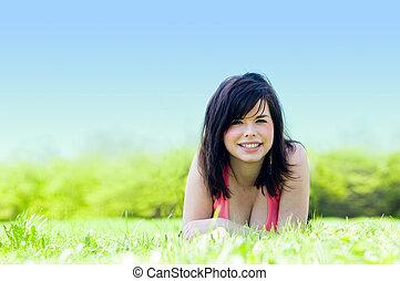 pige, græs, unge, liggende, glade
