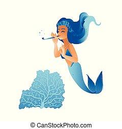 pige, hår, cute, hav, havfrue, blå, swimmin, spille flute