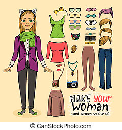pige, hipster, tilbehør, kønne