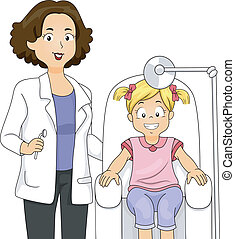 pige, hos, den, tandlæge