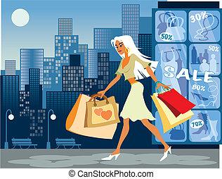 pige, hos, shopping bags