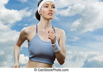 pige, ind, sport